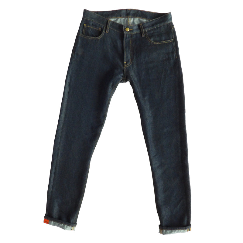 full length photo of again&again perennial jean in slim-fit and dark wash.