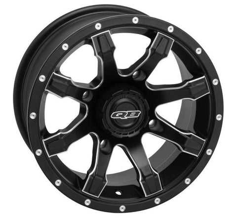 QuadBoss Grinder Wheels  12X7, 4/110, 5+2, Matte Black/Machined Edge  608500