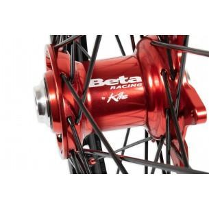 "Beta Racing Kite 19"" Rear Wheel, Red Hubs, Red Nipples, Black Spokes or Silver Spokes, Black Rim  AB-21323"