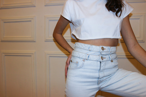 WHITE DOUBLE BELT JEAN