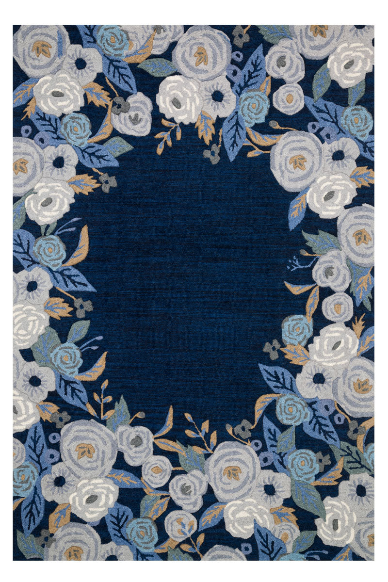 Les Fleurs Blue / Grey Rifle Paper Co × Loloi (153x229) - Perle&Perle