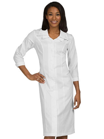 1233 EMBROIDERED COLLAR DRESS - Elegant Scrubs & Apparel