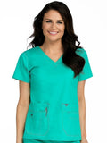 8458 V-NECK KNIT PANEL TOP - Elegant Scrubs & Apparel