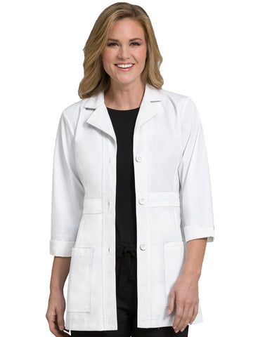 9604 BELTED MID LENGTH LAB COAT - Elegant Scrubs & Apparel