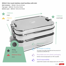 Load image into Gallery viewer, Two Tier Rectangular Stainless Steel Lunchbox