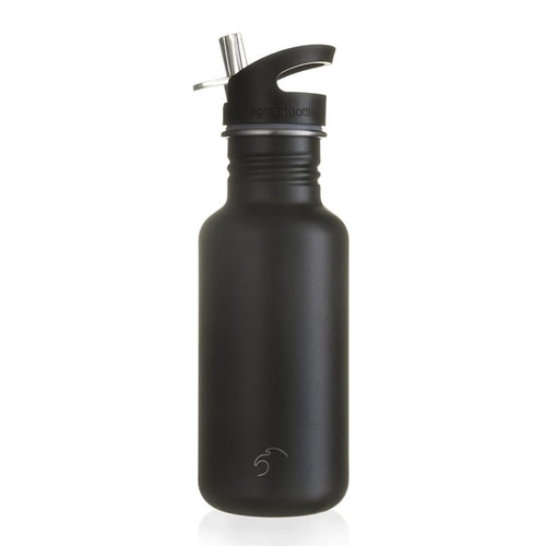 500ml Stainless Steel Pitch Black Bottle with Quench Cap