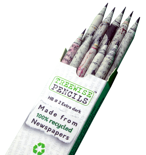 Treewise Recycled Newspaper Pencils - HB Dark