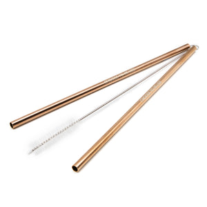 Reusable Stainless Steel Straws (2 pack) - Rose Gold