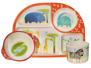 Kids 3 Piece Bamboo Dining Set - Wild Animals
