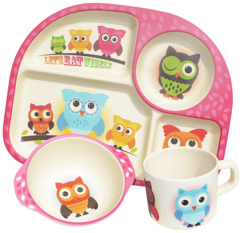 Kids 3 Piece Bamboo Dining Set - Owls