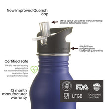 Load image into Gallery viewer, 500ml Stainless Steel Pitch Black Bottle with Quench Cap