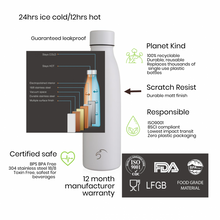 Load image into Gallery viewer, Stainless Steel Vacuum Insulated Isothermal Bottle 500ml- Polar White
