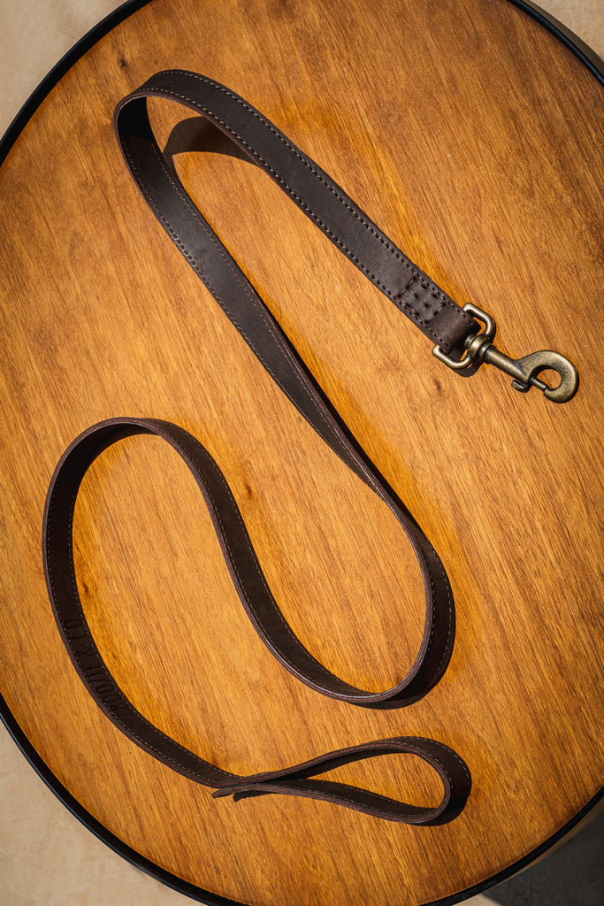 The Boozie Dog Leash - Brown Leather