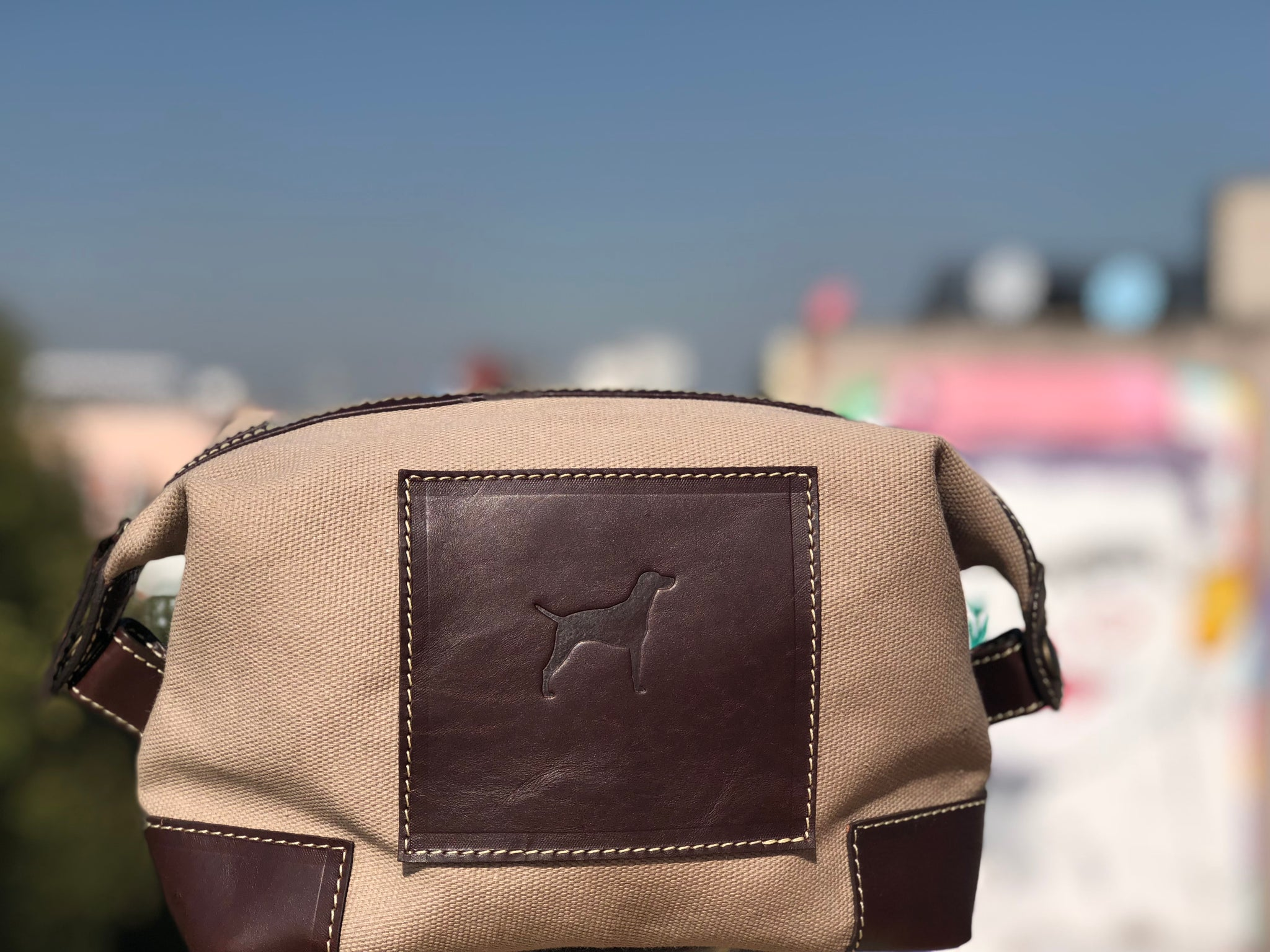 Leather and canvas dopp kit