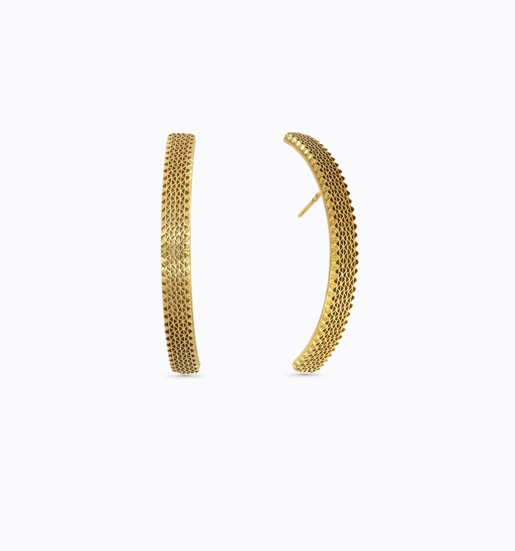 MESH gold pleated earrings liliana guerreiro