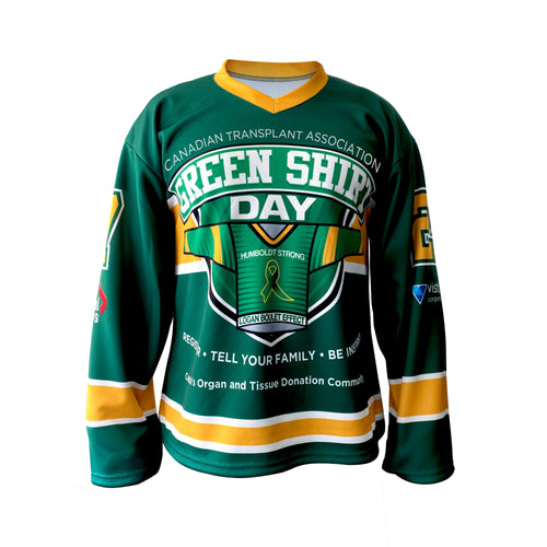 Green Shirt Day Hockey Jersey - Adult & Youth - Canada Exclusive