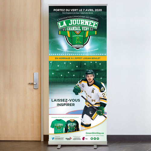 Green Shirt Day Retractable Banner - French