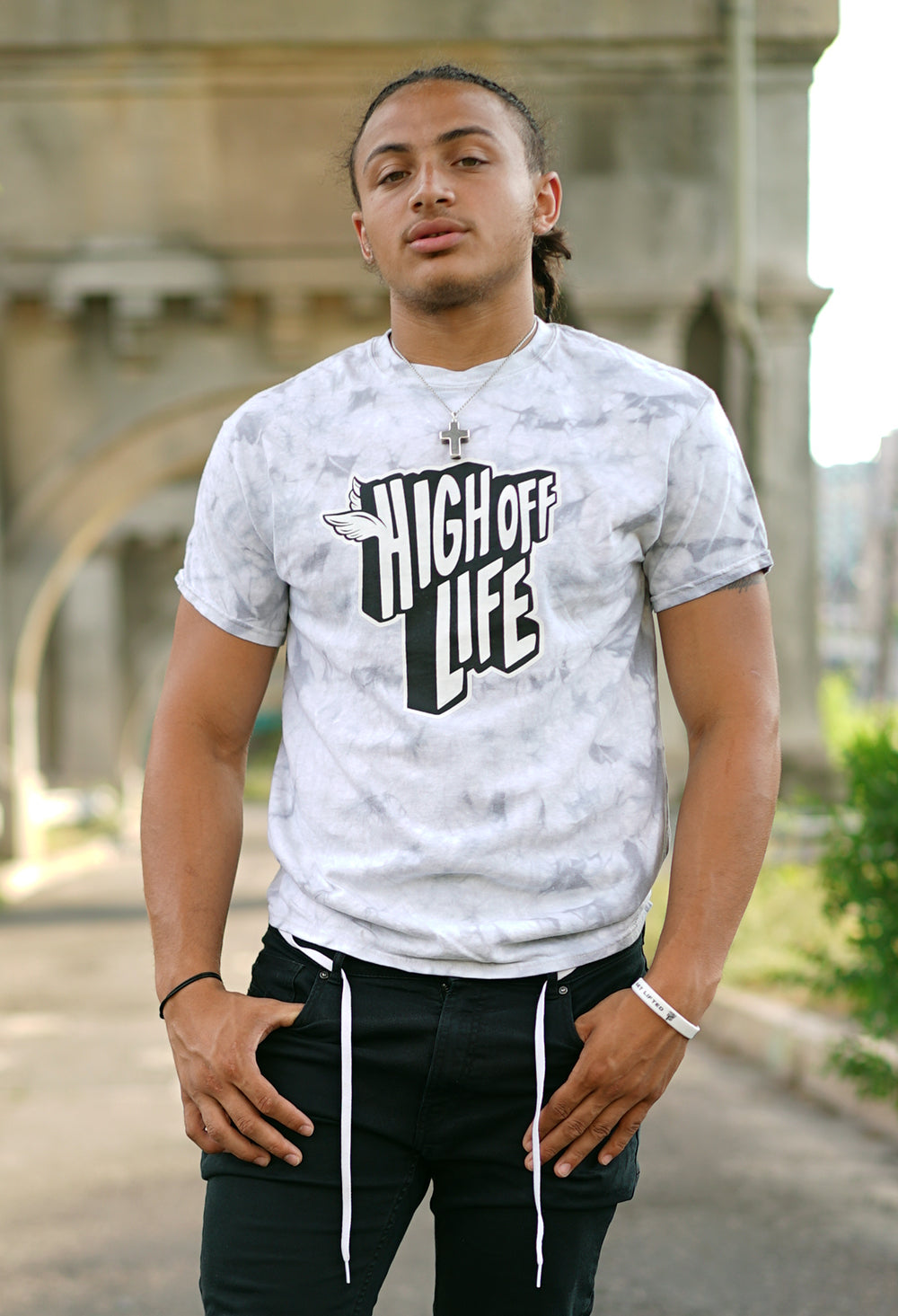 High Off Life T-Shirt (Crystal Gray Tie-Dye)