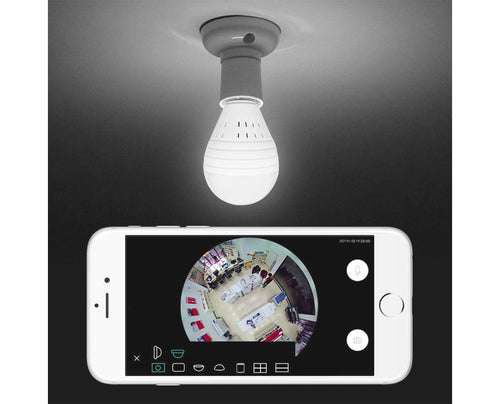 Fish Eye Light Bulb Security Camera