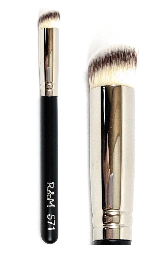 R&M 571 Slanted Round Concealer & Buffer brush - Mehliza Beauty London