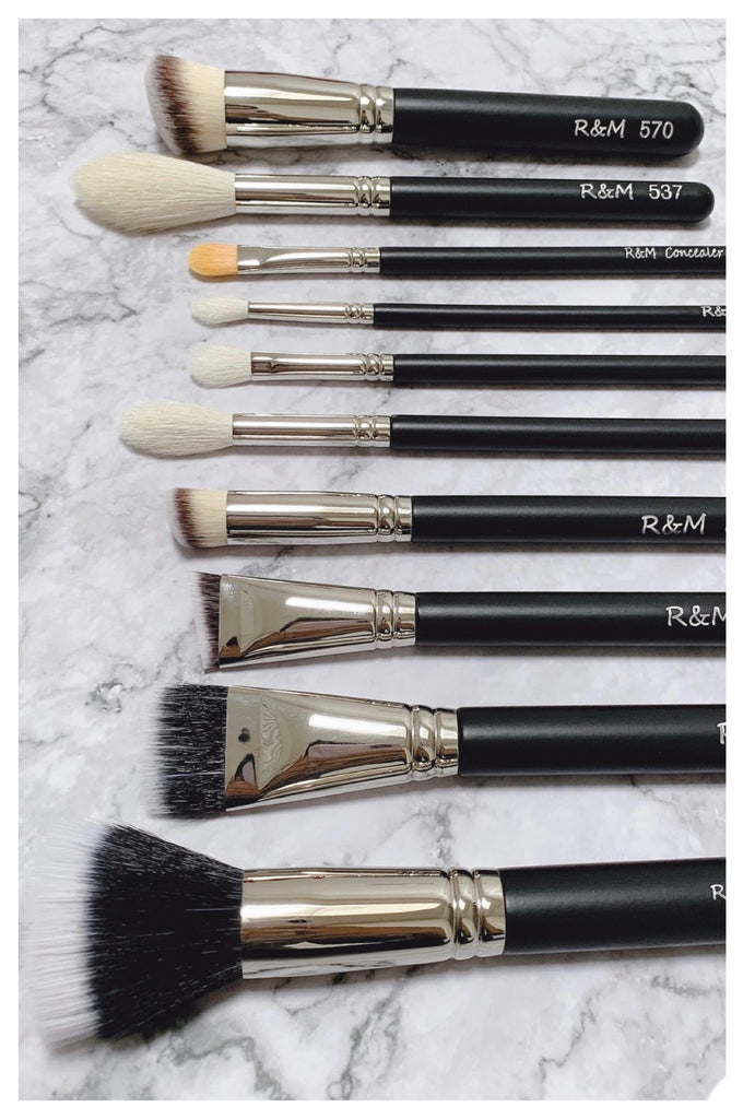 10pc Essential Makeup Brush Set - Mehliza Beauty London