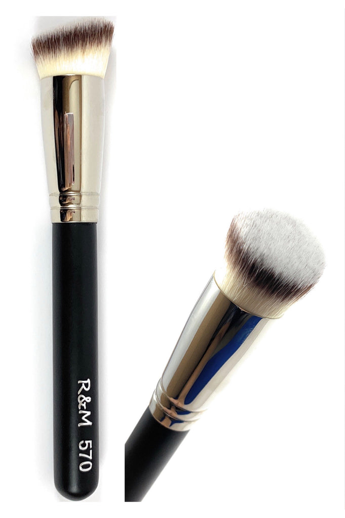 R&M 570 Round Slanted Foundation & Buffer brush - Mehliza Beauty London