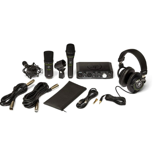 Mackie Producer Bundle with Onyx Producer interface, EM89D dynamic mic, EM91C condenser mic and MC-100 headphones.