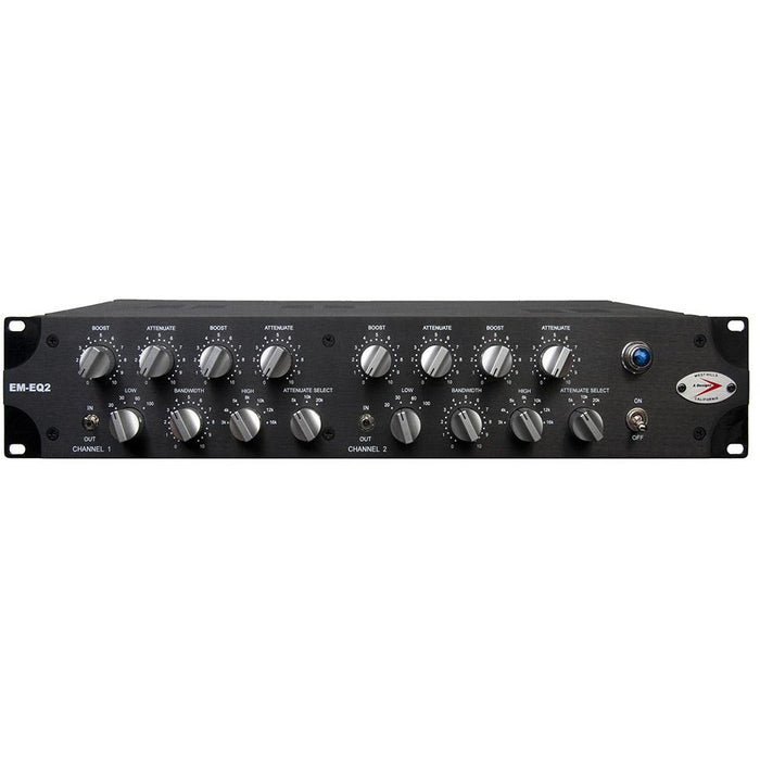 A-Designs EM-EQ2 - Based on Pultec EQP-1A - 2 Channel 2U Rack Mount Version Front