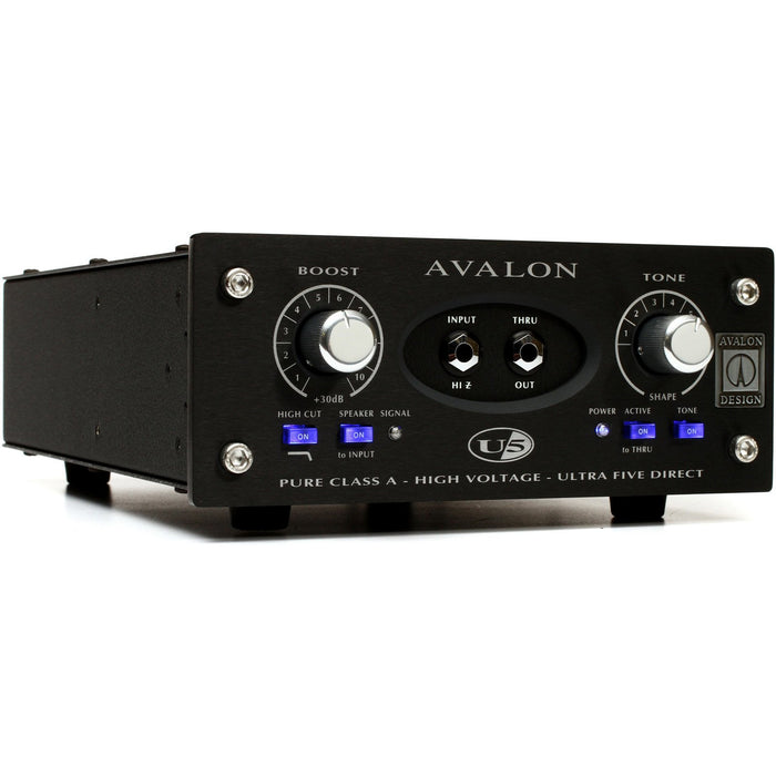 Avalon U5 mono instrument DI box - Black Front Angle