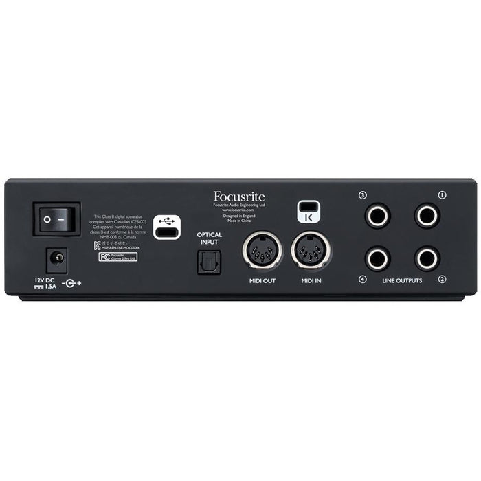 Focusrite Clarett 2 Pre USB - Desktop 2 Mic Input with ISA Modelled Pre Amps Audio Interface