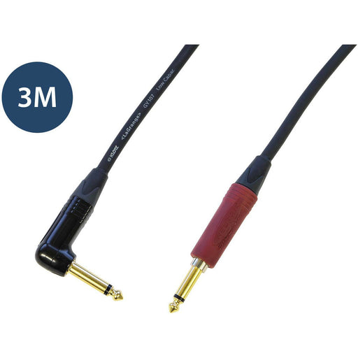 Studiocare Klotz AC110 Guitar Cable 3M - Right angled Jack to Straight Neutrik Silent Plug