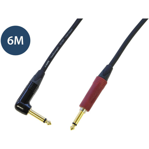 Studiocare Klotz AC110 Guitar Cable 6M - Right angled Jack to Straight Neutrik Silent Plug