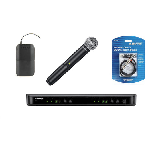 Shure BLX1288UK/SM58 - Wireless System with SM58 Handheld Transmitter & WA302 Instrument Cable