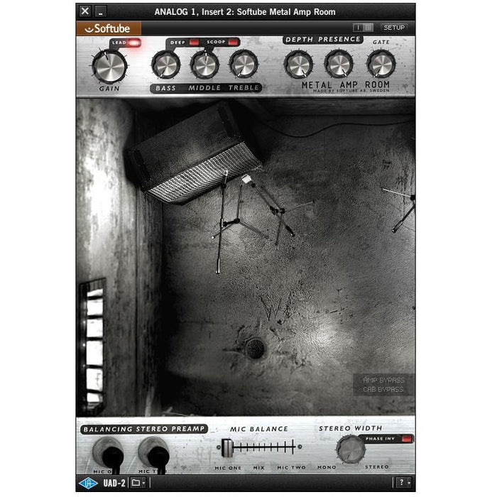 Softube Metal Amp Room Plug-In (Default)Back  Reset  Delete  Duplicate  Save  Save and Continue Edit