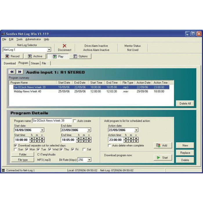 Sonifex Net-Log-Win05 - Net-Log-Win Windows Software - 5 Stream License