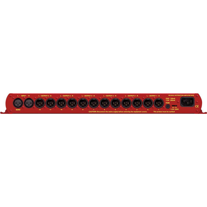 Sonifex RB-DA6G - 6 Way Stereo Distribution Amplifier With Output Gain Control (1U)