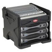 SKB Gig Rig R1006 - Mini Gig Rack angled top shelf and lid, with 6U rack space below