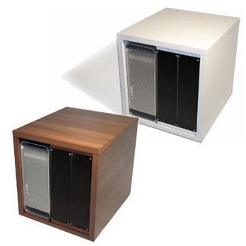 TD 12U Pod with 6U Vertical Rack Strip and section for MacPro - Available in White & Walnut