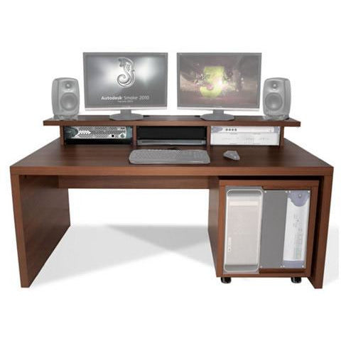 TD Big Slab - Work station with Top Racks & 12U Rack. Available in White & Walnut