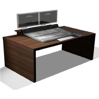 TD C24 - Slab desk with central C24 cut through. Available in White & Walnut