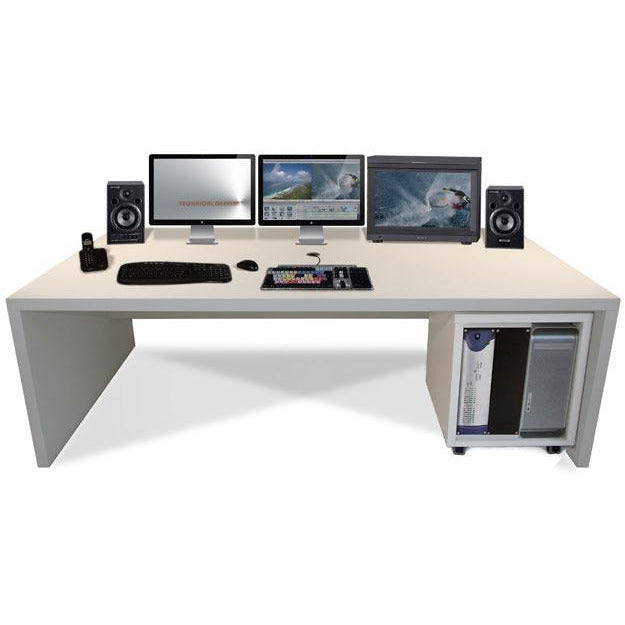 TD Xtra Big Slab - Work station with 12U Rack. Available in White & Walnut