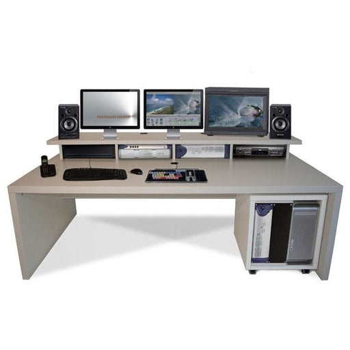 TD Xtra Big Slab - Work station with Top Racks & 12U Rack. Available in White & Walnut
