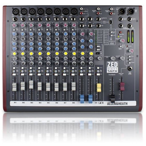 Allen & Heath ZED60-14FX 8 mic/line inputs, 2 stereos, 60mm faders, USB, FX