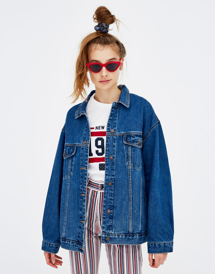 Denim biker blue jacket