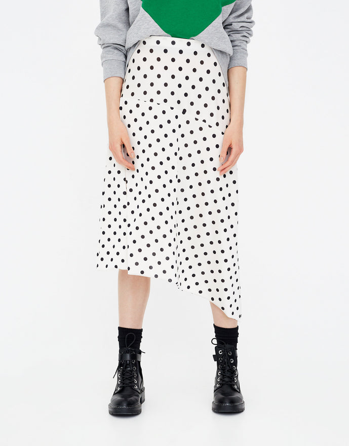 Polka dot asymmetric skirt