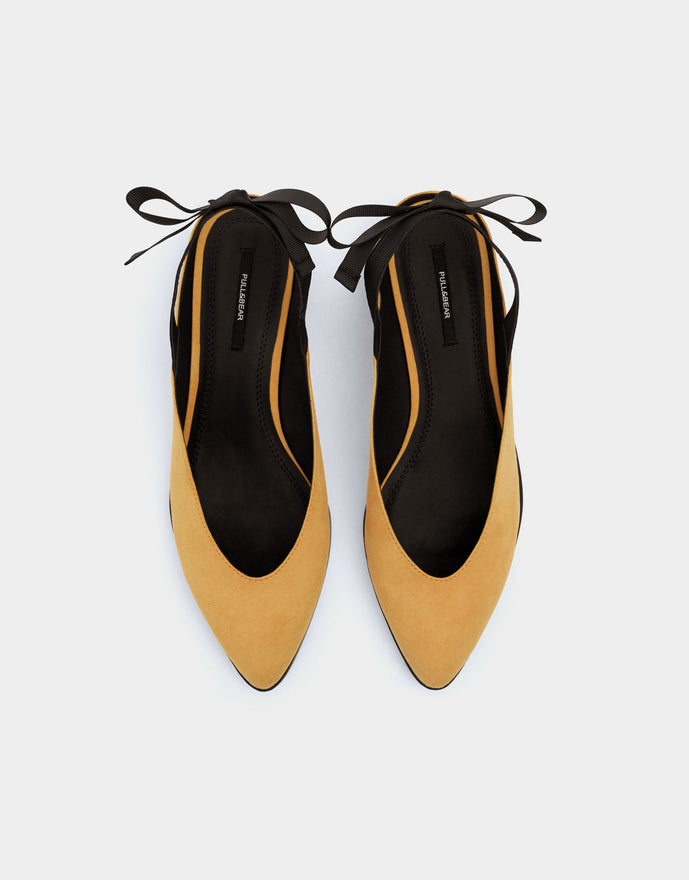 Mustard yellow ballerinas with bow detail