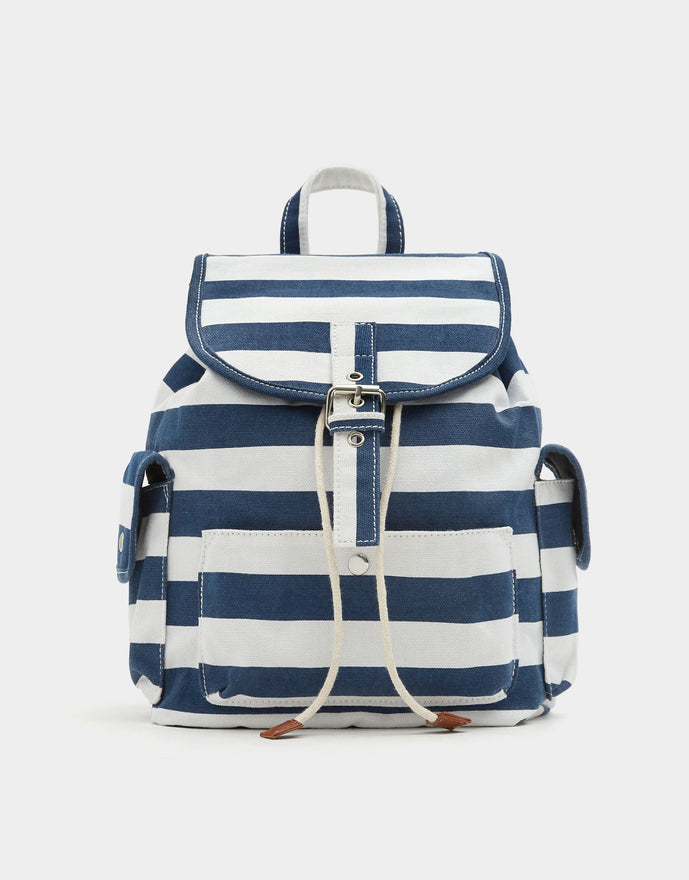 Navy blue fabric backpack