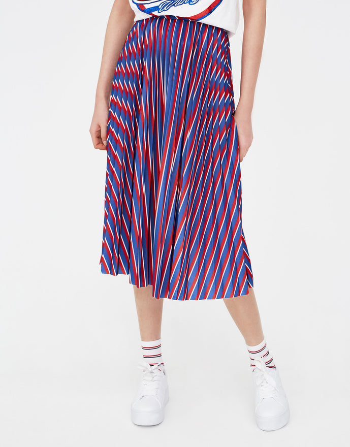 Pleated striped midi skirt