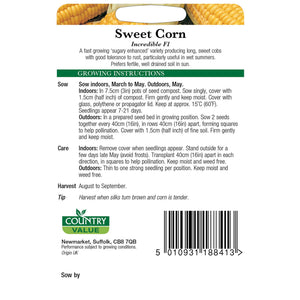 Sweetcorn Incredible F1 Seeds- By Country Value