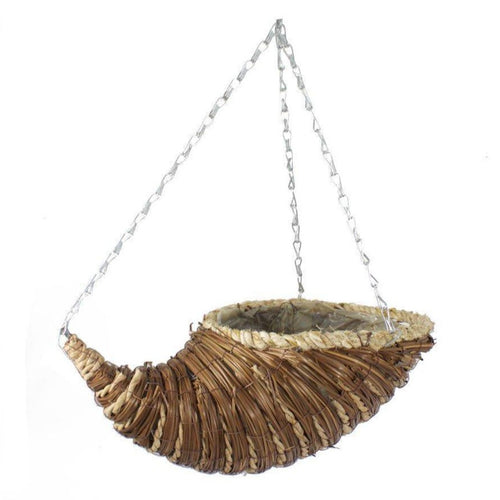 Reed and Rope Premium 14'' Horn Hanging Basket - Bells Gardening